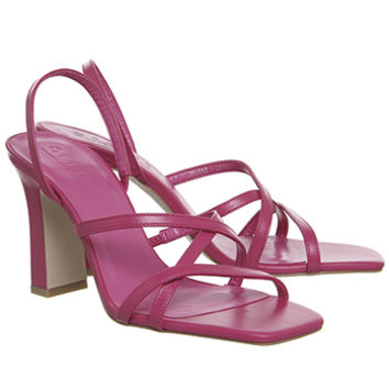 Office Mariah Square Toe Strappy Sandals Pink Leather - Mid Heels