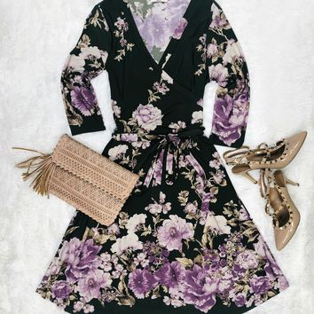 Fresh Floral Wrap Dress: Olive