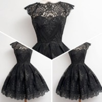 Retro Puff lace dress lace dress short paragraph evening dress