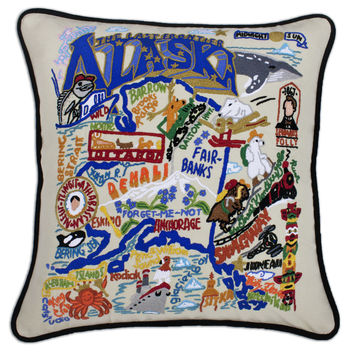 Alaska Hand Embroidered Pillow