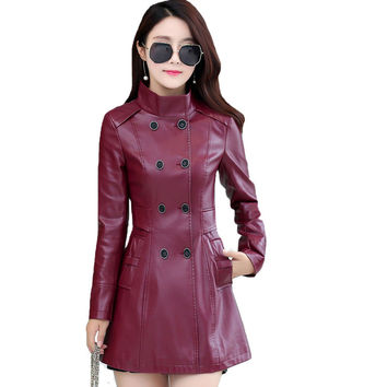 Double Breasted Long Leather Stand Collar Coat