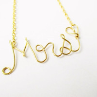 Personalized Wire Mrs Necklace, Wire Writing In Gold Or Silver