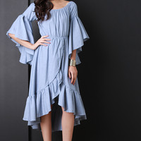 Chambray Boat Neck Ruffle Bell Sleeves Dress