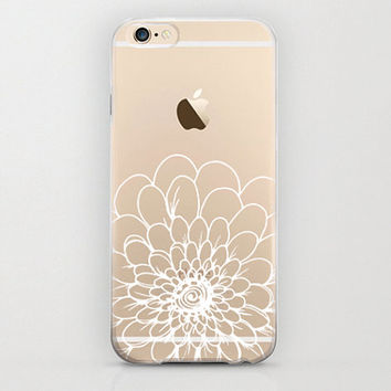Large White Flower iPhone 6 Case Clear Graphic on Bottom Half of Hard Shell Case Apple iPhone 6 Designs Cell Phone Cover Floral White
