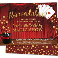 Magic Show Birthday Invitations - Magic Invitation - Magic Invite - Playing Cards Top Hat - Show Curtain Invitation - Boy Girl Adult Kids