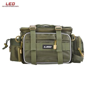 LEO Multifunctional Fishing Bags Canvas Lure Waist Pack Messenger Pole Package 3 Layer Fishing Bag Carp Tackle 40 * 23 * 7cm