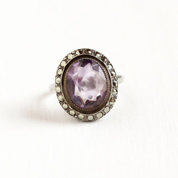 Vintage Art Deco Sterling Silver Amethyst & Marcasite Halo Ring - 1930s Size 6 Purple Oval Gemstone February Birthstone Statement Jewelry