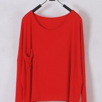 *Free Shipping* Ladies Red Cotton T-Shirt Top One Size T012r from efoxcity