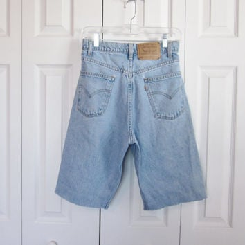 Vintage Levi Cut Off Shorts Mens Levis Cutoffs Jean Shorts Light Wash Denim Shorts Waist 33 Hipster Shorts Grunge Clothing
