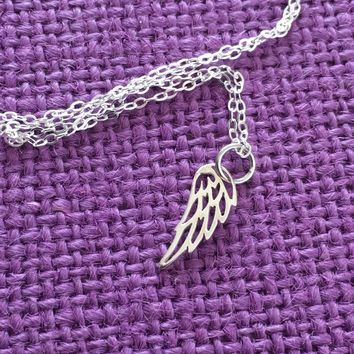Memorial Necklace - Remembrance - Angel Wing Necklace - Guardian Angel Necklace - Delicate Jewelry - Tiny Charm Pendant Necklace - sterling