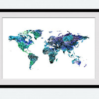 Watercolor world map print Colorful world map poster World map wall decor Home decoration Office wall decor Kids room art poster  W343