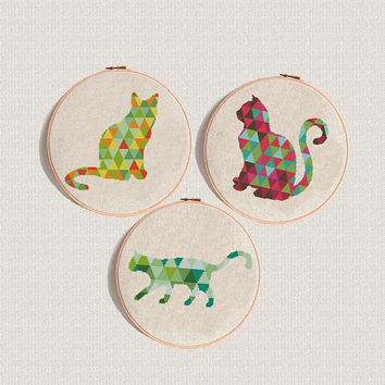 Set of 3 Cat cross stitch pattern Geometric animal Modern cross stitch PDF Hand embroidery hoop art Easy Counted cross stitch chart download