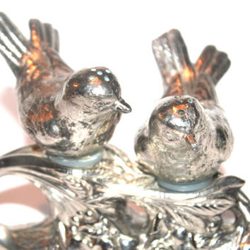 Silver Bird Salt and Pepper Shakers, Art Nouveau, Animal Decor, Vintage Home Decor, Antique Alchemy, Kitchen