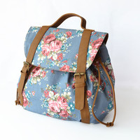 Retro Summer Small Floral Printed Backpack