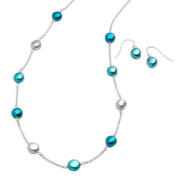 Freshwater by Honora Dyed Freshwater Cultured Pearl Sterling Silver Station Necklace & Drop Earring Set (Pearl/Silver/Gray)