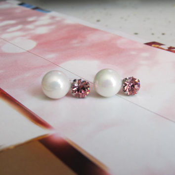 Pink Swarovski Crystal Wedding Clip on earrings, C28s, Bridal Clip on, Non pierced earrings, Pearl clip on, magnetic earring alternative