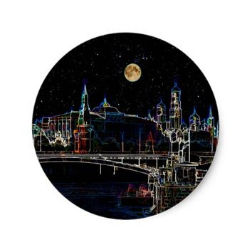 Moscow Kremlin Skyline At Night With Full Moon Classic Round Sticker
