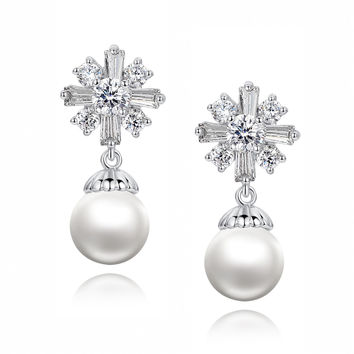 Cross W. Shell Pearl and Baguette and Round Cubic Zirconia Earrings