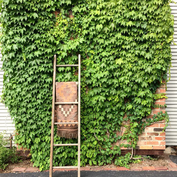 Antique Wood Ladder, 6 Foot Farm Ladder, Rustic Wood Ladder, Painters Ladder, Blanket Ladder