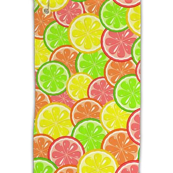 "Colorful Citrus Fruits Micro Terry Gromet Golf Towel 11""x19"" All Over Print"