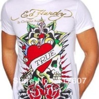 shirt men fashion 2013 summer shirt ED HARDY Free shipping male t-shirt the night shirts short-sleeve diamond Size M-XXL