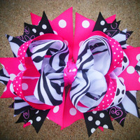Girls Boutique Hairbow OTT Birthday Bow Zebra Pink Black Childrens Spikey Loopy Hairbows Adults Women Children Girls Teens Baby Toddler