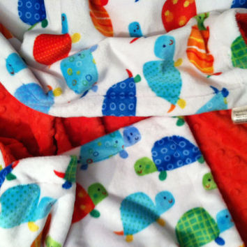 Minky Blanket Turtles White with Minky Dot  Back  Adult Throw  50 x 60