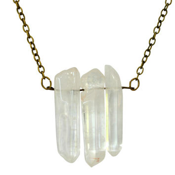 Three Crystal Quartz Necklace