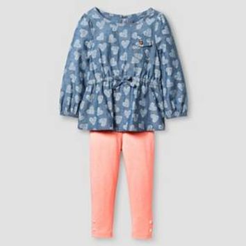 Toddler Girls' 2 Piece Set Cat & Jack™ - Chambray