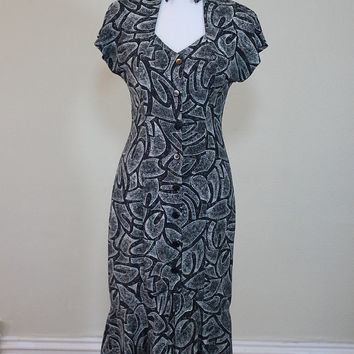 VTG 80's Sexy Wiggle Dress Pencil Skirt Flirty Ruffle Black and White Pattern Peekabo Chest Button UP Mermaid Skirt form fitting