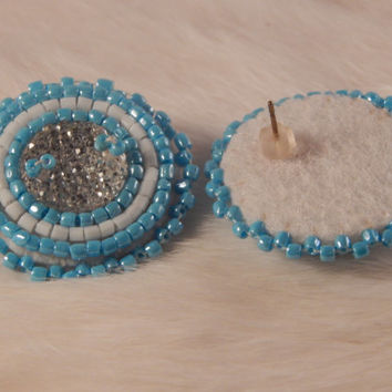 pow wow regalia earrings, Native American made beaded earrings, delica seed beads, contemporary fancy dance or jingle accessory, beadwork