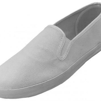 Men's White Color Slip On Canvas Shoes Size 7-13 - CASE OF 24
