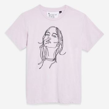Embroidered Sketch Face T-Shirt by Tee & Cake