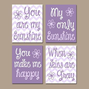 PUPRLE You Are My Sunshine Wall Art, Sunshine CANVAS or Prints, Baby Girl Nursery Decor, Song Rhyme Quote Decor, Set of 4 Pictures  Pictures