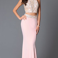 Two Piece Long Prom Dress With Beaded T-Back Halter