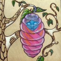 Lowbrow Pop Surreal Butterfly Pyrography Fantasy Fairy Original Art