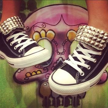 Black Custom Studded Converse All Star High Tops - Chuck Taylors ALL SIZES & COLORS!