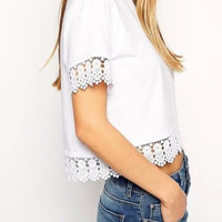 White Lace Short Sleeve Cropped T-Shirt