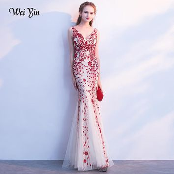 weiyin Long Sparkle Evening Dresses V-Neck Mermaid Sequined Long Evening Dresses Fashion Prom Party Dresses Robe De Soiree
