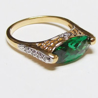 Vintage Emerald and White Topaz Sterling 18k Gold Ring, Wide Large Oval East West Set Green Emerald, Pave, Statement Ring, May Birthstone