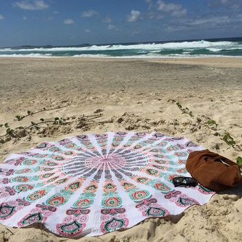 Indian Round Mandala Tapestry Throw Hippie Hippy Wall Hanging Throw Tapestries Decorative Picnic Beach Table Cloth Throw Bedspread