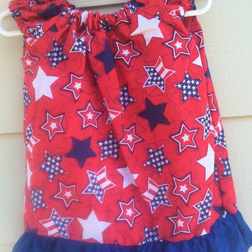 Babys first 4th of july, baby girls dress, 4th of july dress, welcome home dress, red white and blue dress, stars and stripes