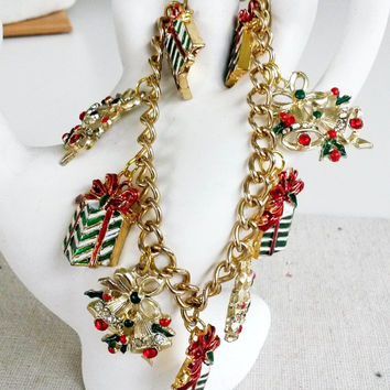 OOAK Upcycled Christmas Charms Gold Tone Bracelet Chunky RePurposed Gifts Bells Rhinestone Enamel Presents