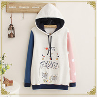 Cute kawaii dot love cat fleece hoodies
