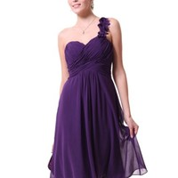 Ever Pretty One Shoulder Flowers Padded Ruffles Short Bridesmaid Dress 03535, HE03535PP10, Purple, 8US - save winkie Shop