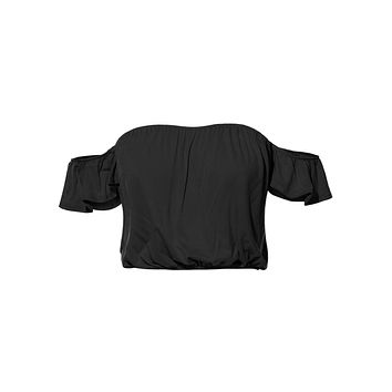 LE3NO Womens Stretchy Sexy Strapless Off Shoulder Short Sleeve Cropped Tube Top