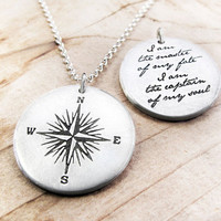 Compass Necklace Invictus quote Inspirational by lulubugjewelry