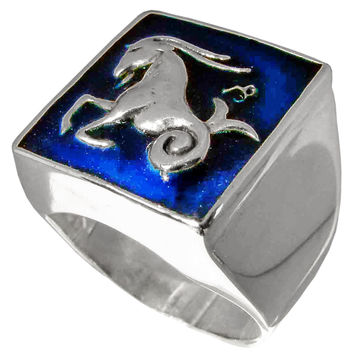Night Sky Capricorn Ring Capricornus Zodiac Astrology Symbol in Sterling Silver 925 with Dark Blue Enamel