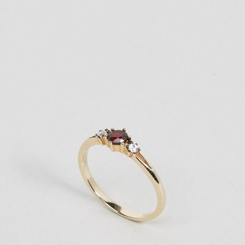 Regal Rose18K Gold Plated Ruby Trilogy Ring at asos.com