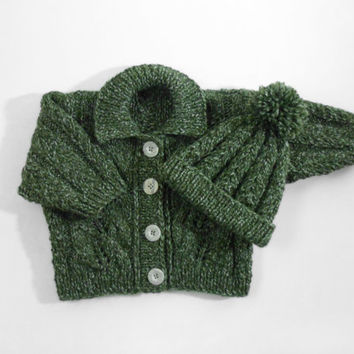 Hand Knitted Baby Cardigan and Hat - Green, 6 - 12 months